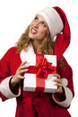 Santa holding a gift box Stock Images