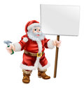 Santa holding hammer and sign cartoon illustration of a spanner great for construction business carpenter or hardware shop Royalty Free Stock Photos