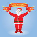 Santa holding merry christmas banner claus over blue background Stock Image