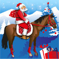 Santa on horseback rides a horse with a bag of gifts a background of mountains and trees Royalty Free Stock Image
