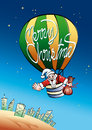 Santa in hot air balloon illustration of claus a with merry christmas floating over a city at night Royalty Free Stock Photo