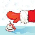 Santa at the hotel cartoon illustration of claus arrival drawing representing a hand of a person with red glove ringing Royalty Free Stock Images