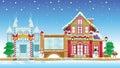 Santa House and Ice Castle Royalty Free Stock Photo