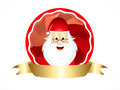 Santa icon with ribbon vector illustration Stock Images
