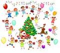 Santa, reindeer and joyful children