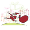 Santa jumping in front of presents pile Stock Photo