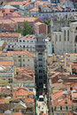 Santa justa elevator baixa district lisbon aerial view of elevador de at histoical portugal also Stock Photography