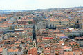 Santa justa elevator baixa district lisbon aerial view of elevador de and ruin of igreja do carmo at histoical Royalty Free Stock Images