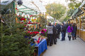 Santa llucia christmas fair barcelona starts in spain on december people visit the shops to buy decoration as fir trees and crib Stock Image