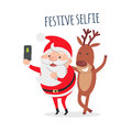 Santa Makes Festive Selfie with Reindeer. Vector