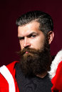 Santa man bends brows Royalty Free Stock Photo