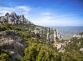 Santa maria de montserrat abbey catalonia spain beautiful mountain view to Stock Image