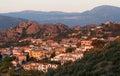 Santa Maria Navarrese village in Sardinia in warm sunrise light, Italy, typical sardinian seascape,sardinian village, sunrise Royalty Free Stock Photo