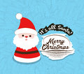 Santa. Merry christmas Flower sketch background Royalty Free Stock Photo