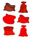 Santa, money bag, Christmas empty sack icon set , symbol, design. Winter vector illustration  on white background. Royalty Free Stock Photo