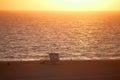 Santa monica beach au coucher du soleil Image libre de droits