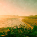 Santa monica beach and pier fun park at sunset Royalty Free Stock Images