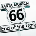 Santa monica end of the trail sign in santa monica pier united states Royalty Free Stock Photo