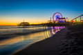 The Santa Monica Pier at sunset Royalty Free Stock Photo