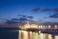 Santa Monica Pier after sunset, California Royalty Free Stock Photo