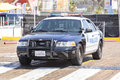 Santa Monica Police car parked in front of a pier. Royalty Free Stock Photo