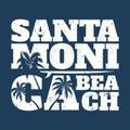 Santa Monica tee print with surfboard and palms.