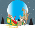 Santa and moon his reindeer drawn sleigh flying in front of the with a star filled sky background Royalty Free Stock Photo