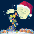 Santa moon sharing gifts Royalty Free Stock Images