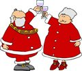 Santa & Mrs Claus offering a toast Stock Image