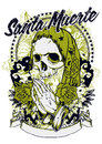 Santa muerte widow skull praying for love Stock Images