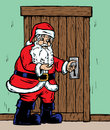Santa opening door Stock Photos