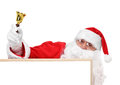 Santa and part of hollow bulletin board claus Royalty Free Stock Photo