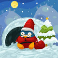 Santa penguin Stock Image