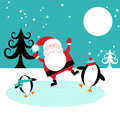 Santa and Penguins skating Royalty Free Stock Photos