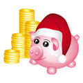 Santa piggy bank with stacks of money. Royalty Free Stock Images