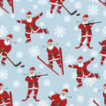 Santa playing winter sports.Seamless pattern