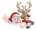 Santa and Reindeer Characters Royalty Free Stock Photo