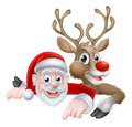 Santa and Reindeer Christmas Cartoon Royalty Free Stock Photo