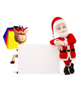 Santa and reindeer for christmas d with sign board Stock Images