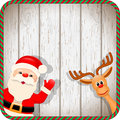 Santa and reindeer in christmas frame with wood texture background illustration Royalty Free Stock Photos