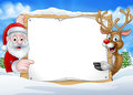 Santa and Reindeer Christmas Sign Background Royalty Free Stock Photo