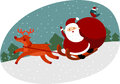 Santa with reindeer claus on sleigh Royalty Free Stock Photos