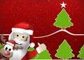 Santa and Reindeer Happy Christmas Feeling Royalty Free Stock Photo