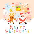 Santa and reindeer merry christmas card cute Royalty Free Stock Images