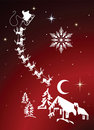 Santa and reindeer in night sky christmas eve Royalty Free Stock Image