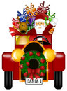 Santa and Reindeer Riding in Vintage Car Isolated Royalty Free Stock Photo