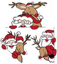 Santa and Reindeer Set Stock Photography
