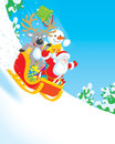 Santa, Reindeer and Snowman Royalty Free Stock Photo