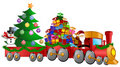 Santa Reindeer Snowman Train Gifts Christmas Tree Royalty Free Stock Photo