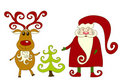 Santa, reindeer and tree. Royalty Free Stock Images